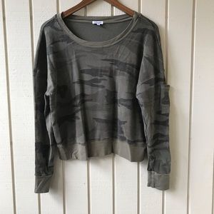 Splendid Camo Print Semi Cropped Thermal Top